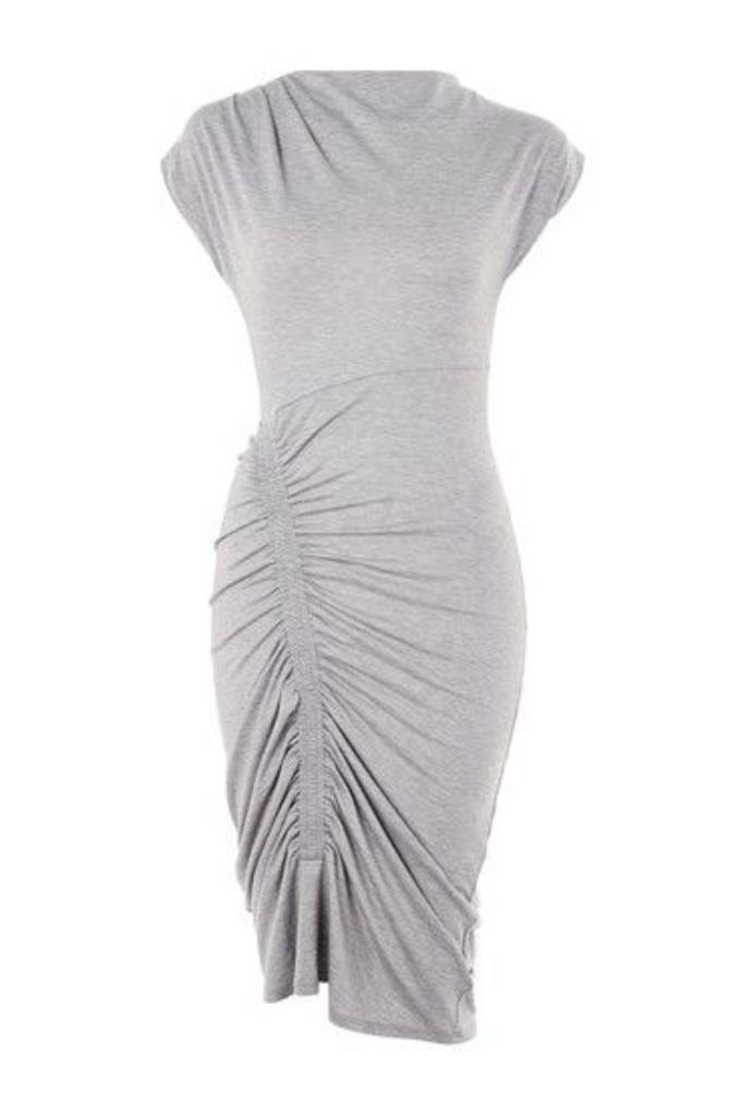 Womens Ruched Bodycon Midi Dress - Grey, Grey