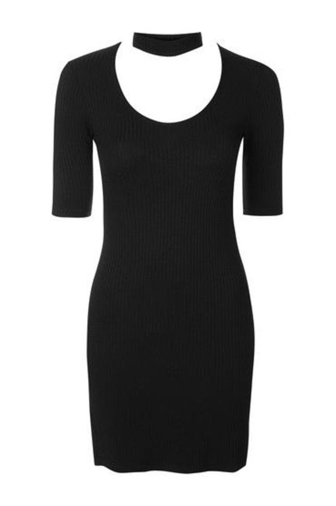 Womens Choker Neck Ribbed Mini Dress - Black, Black