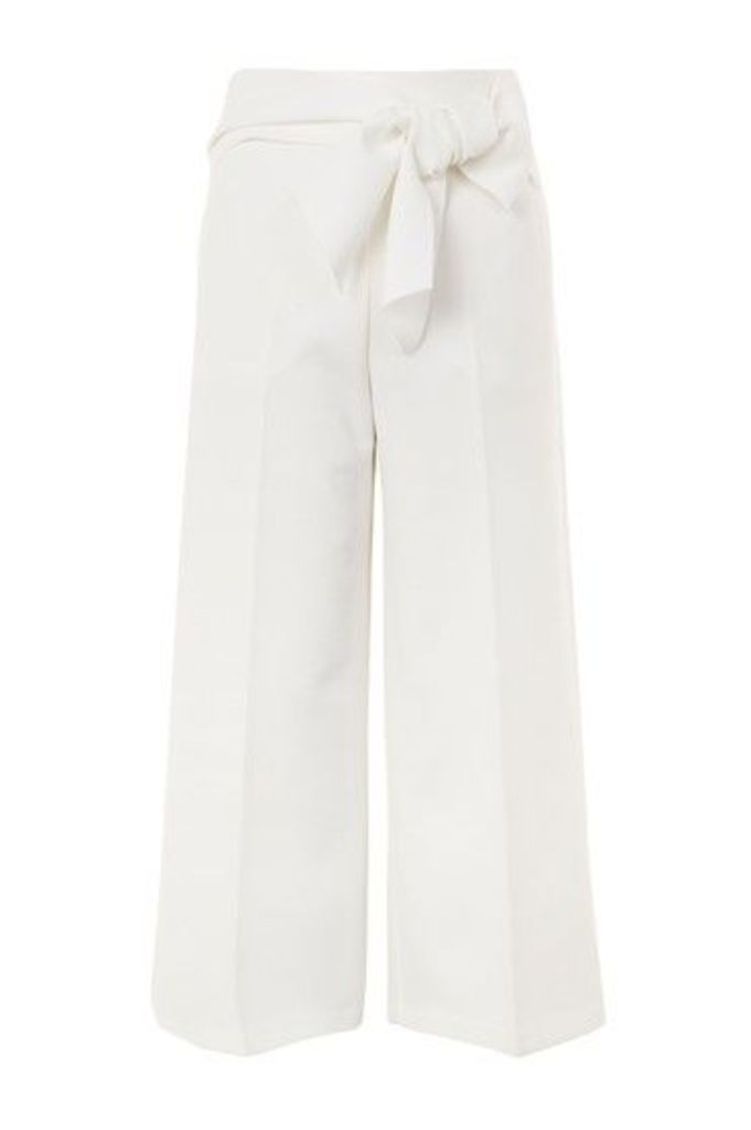 Womens Bond Tie Crop Wide Leg Trousers - Ivory, Ivory