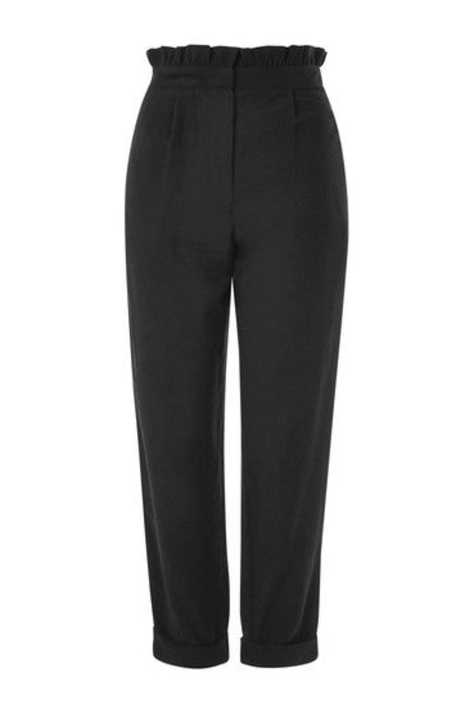 Womens Ruffle Waist Mensy Trousers - Black, Black