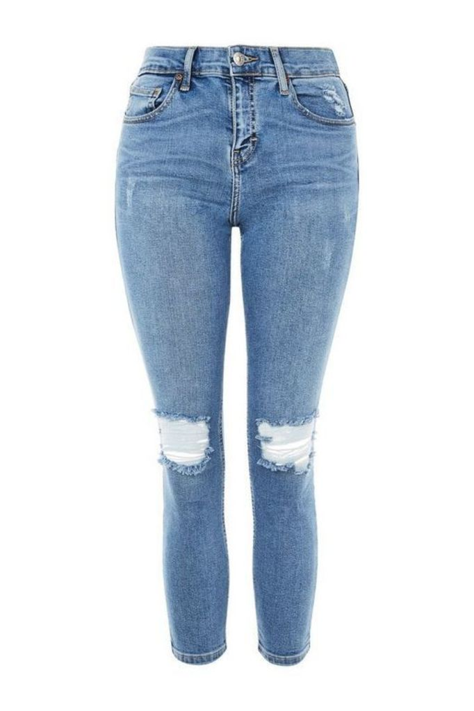 Womens PETITE Rip Jamie Jeans - Mid Stone, Mid Stone