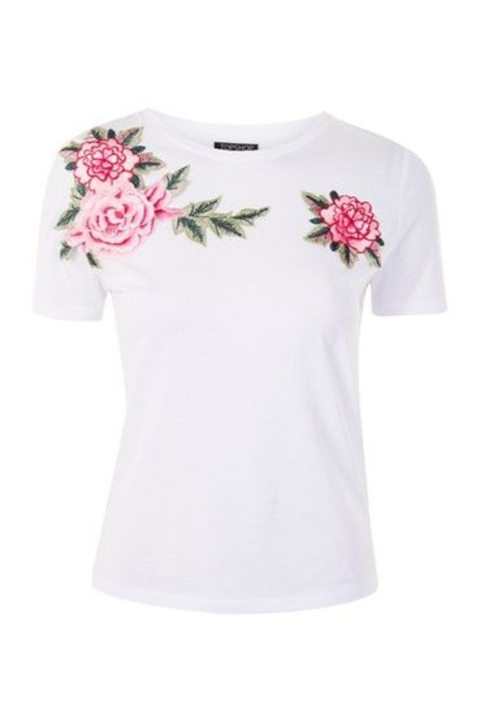 Womens Floral Applique T-Shirt - White, White