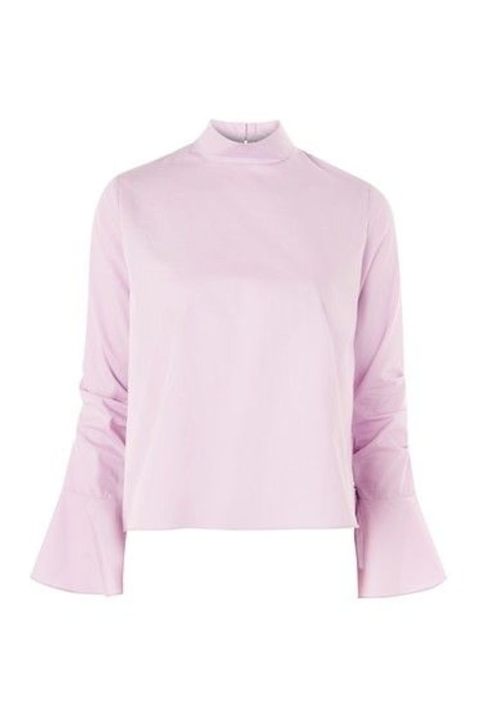Womens Ruched Sleeve High Neck Poplin Top - Lilac, Lilac