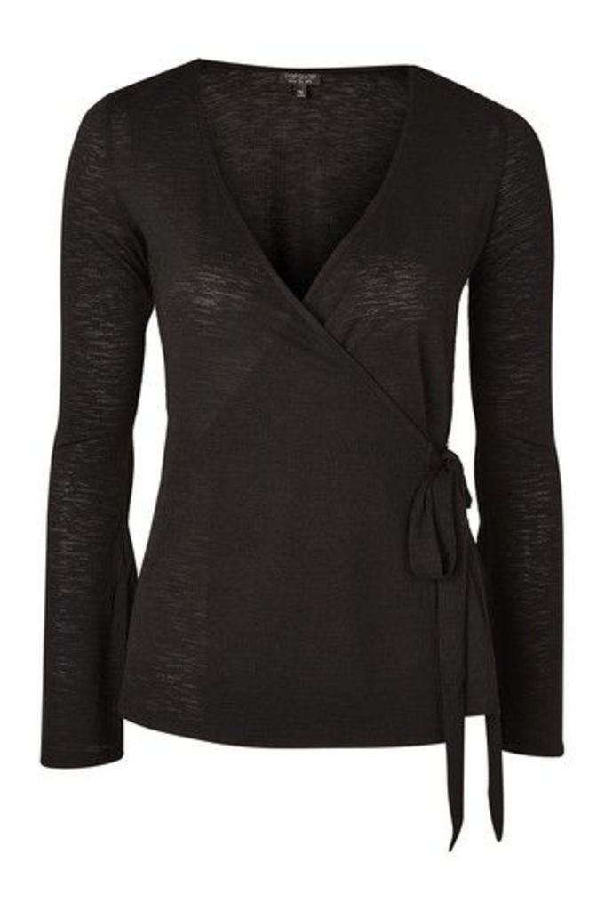 Womens Textured Wrap Top - Black, Black