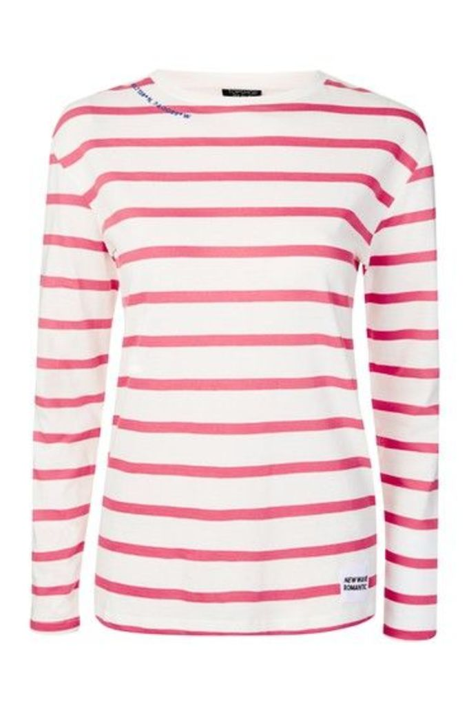 Womens Romantic Tab Stripe Top - Red, Red