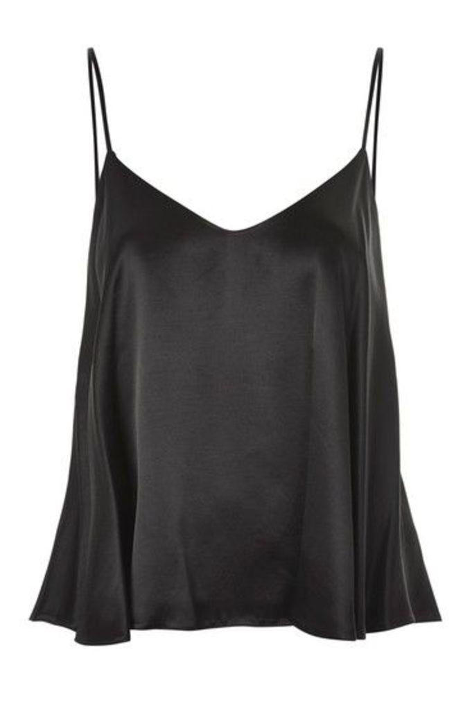 Womens Rouleau Satin Camisole Top - Black, Black