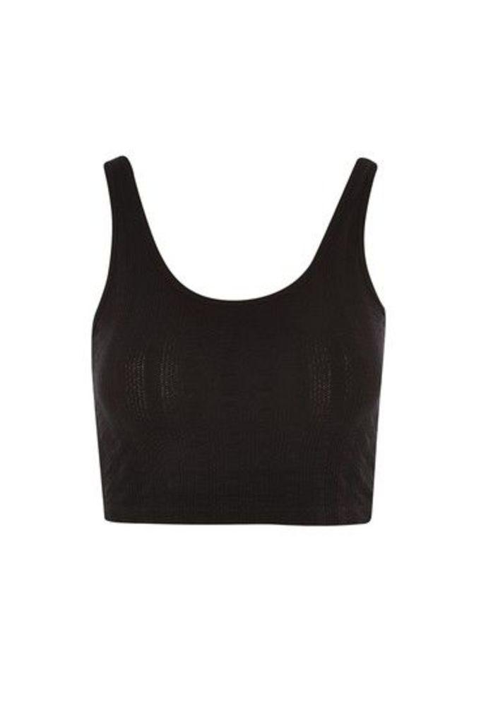 Womens Lulu Ribbed Crop Top - Black, Black