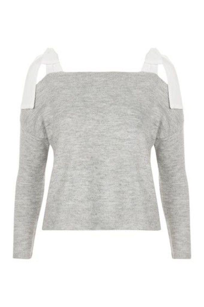 Womens PETITE Tie Sleeve Knitted Top - Grey Marl, Grey Marl