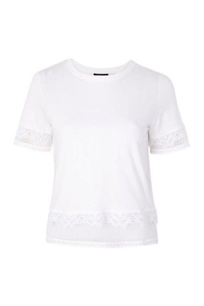 Womens Dobby Trim T-Shirt - White, White
