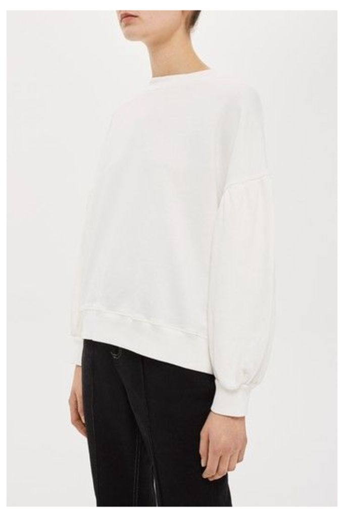 Womens Balloon Sleeve Sweat by Boutique - Ivory, Ivory