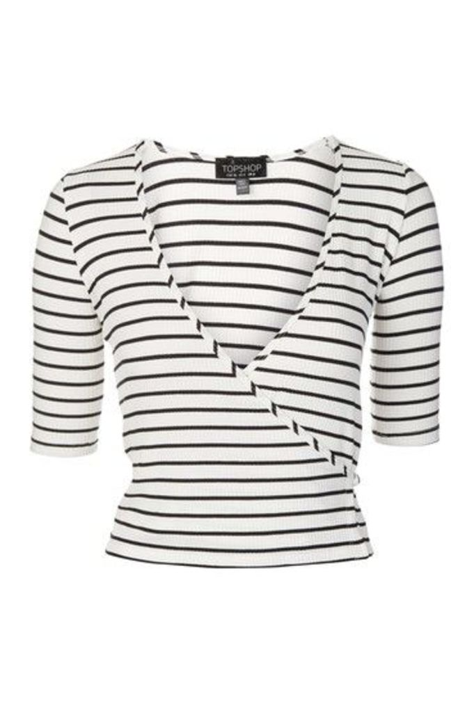 Womens Stripe Wrap Top - Monochrome, Monochrome