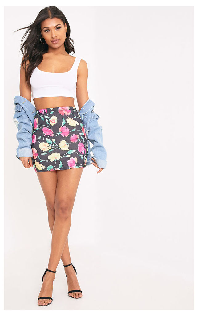 Hasina Black Pretty Floral Print Mini Skirt