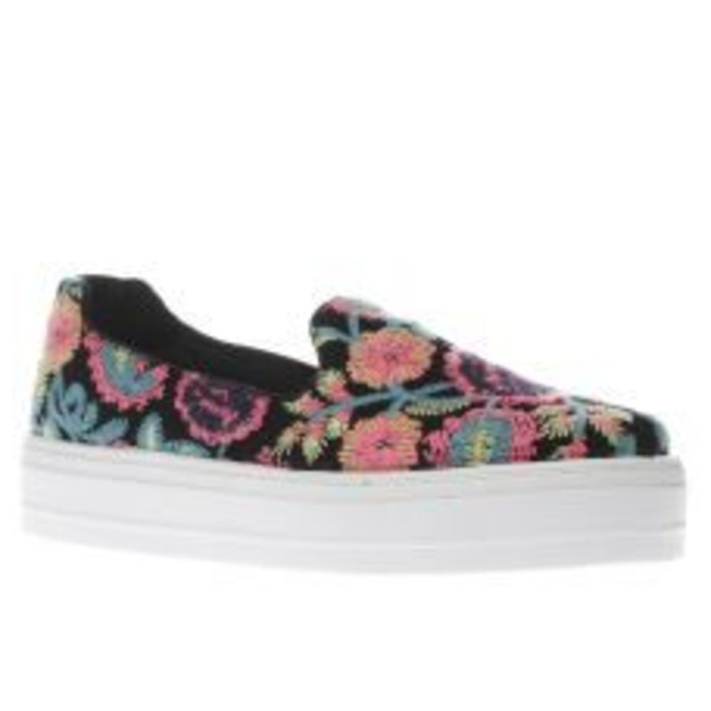 Schuh Black & Pink Stellar Embroidered Womens Flats