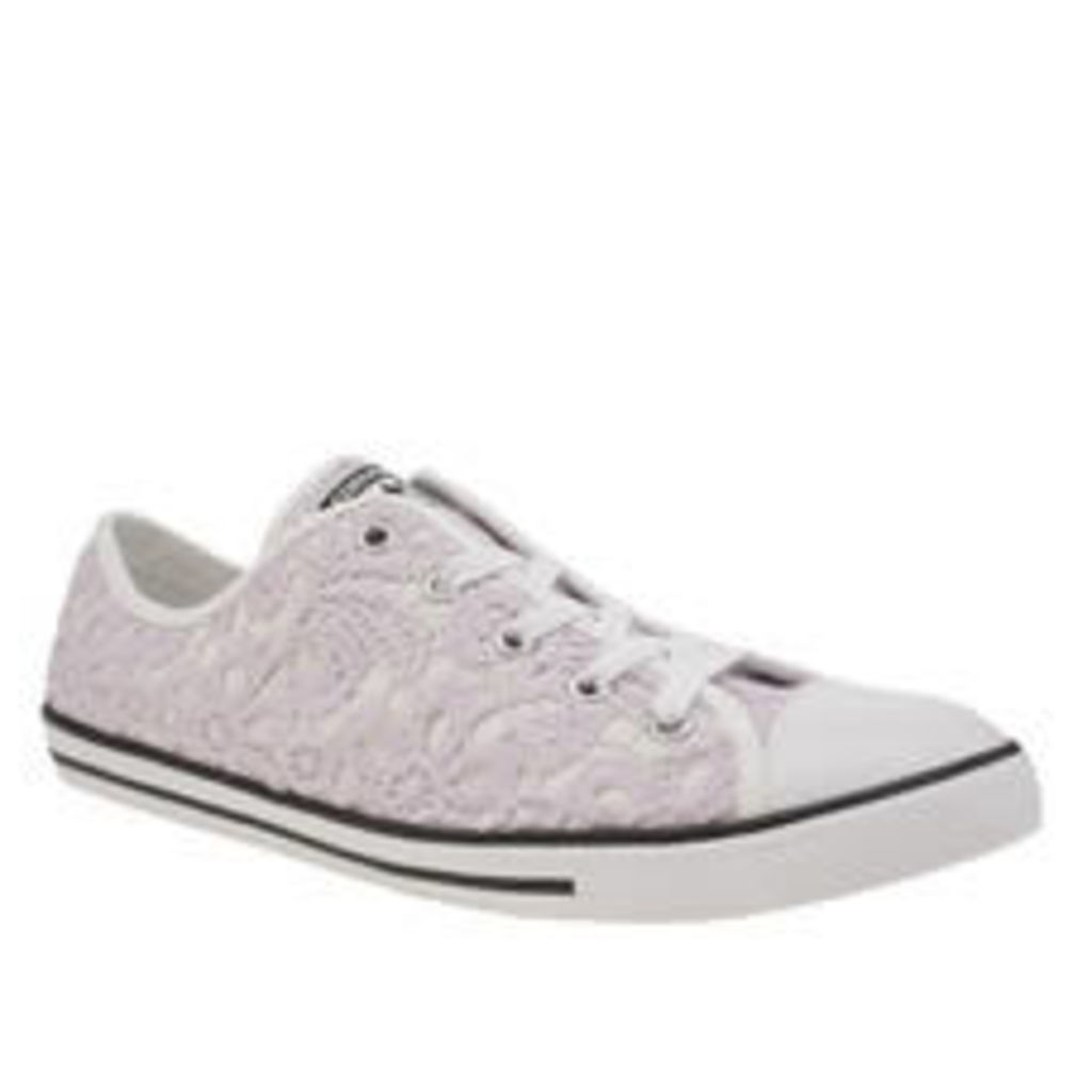 Converse White & Purple All Star Dainty Crochet Ox Womens Trainers