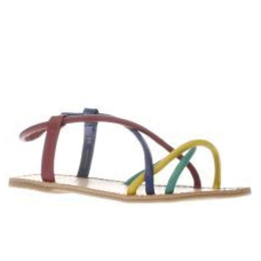 Red Or Dead Purple & Blue Rose Rainbow Womens Sandals