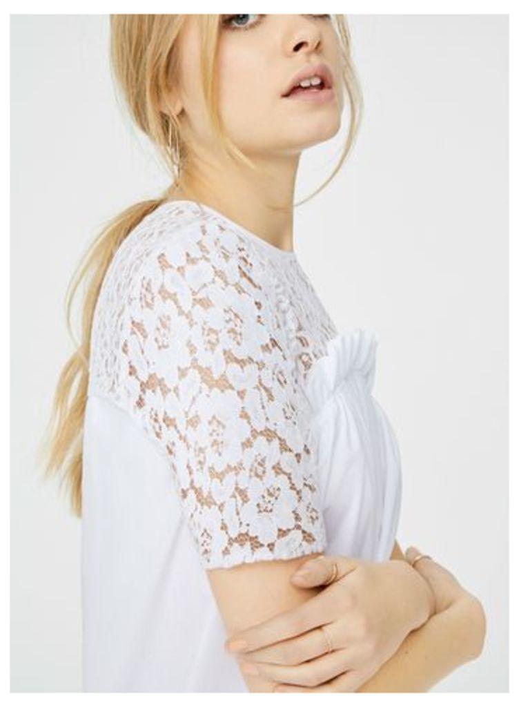 Womens Lace Contrast Poplin T-Shirt, Ivory