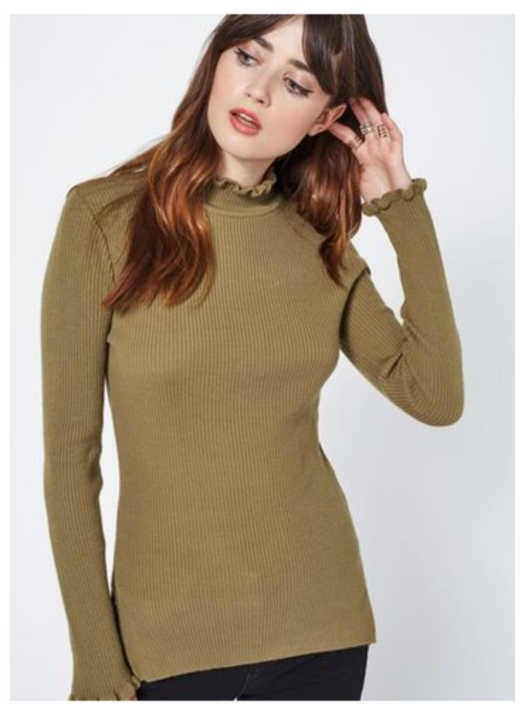 Womens Olive Frill Long Line Top, Olive