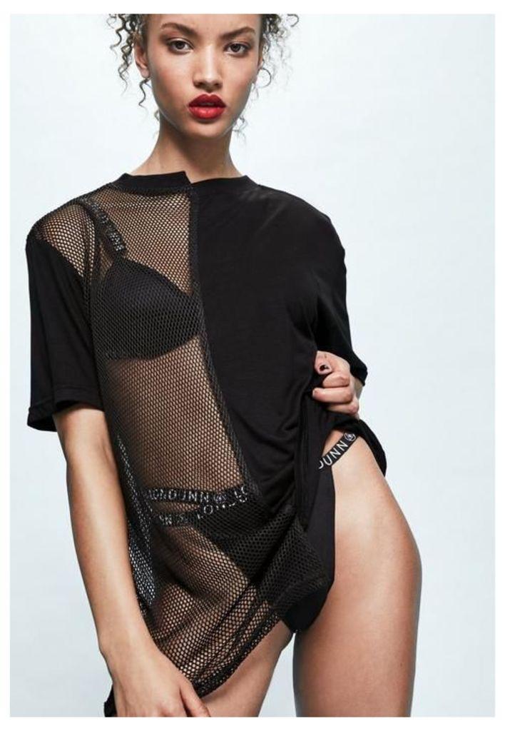 Londunn + Missguided Black Spliced Mesh Jersey T-shirt, Black