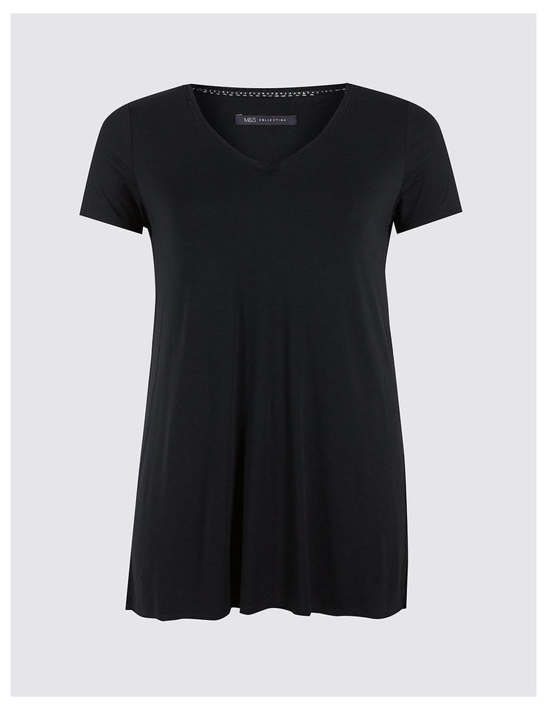 M&S Collection PLUS V-Neck Short Sleeve Tunic