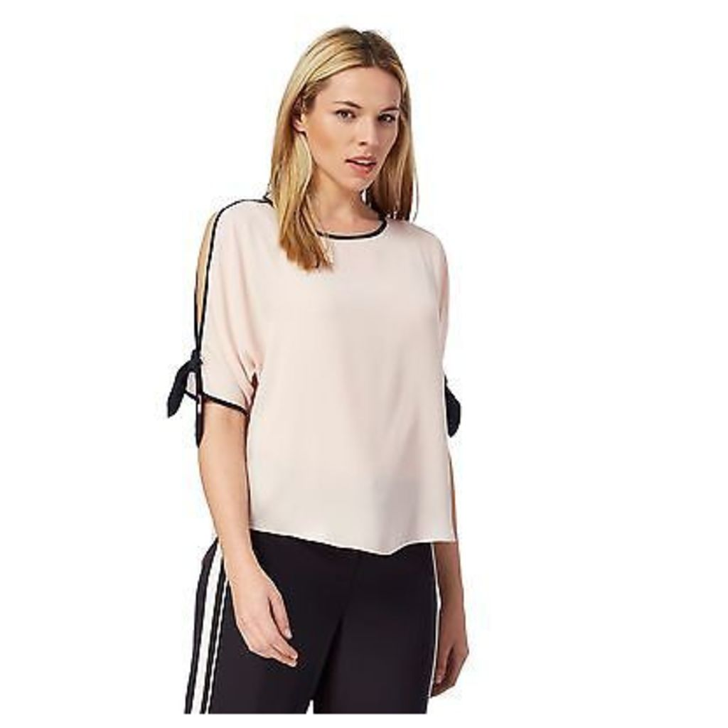 Principles By Ben De Lisi Womens Light Pink Tipped Cold Shoulder Top