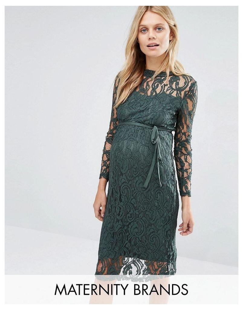 Mamalicious Long Sleeve Lace Dress - Green
