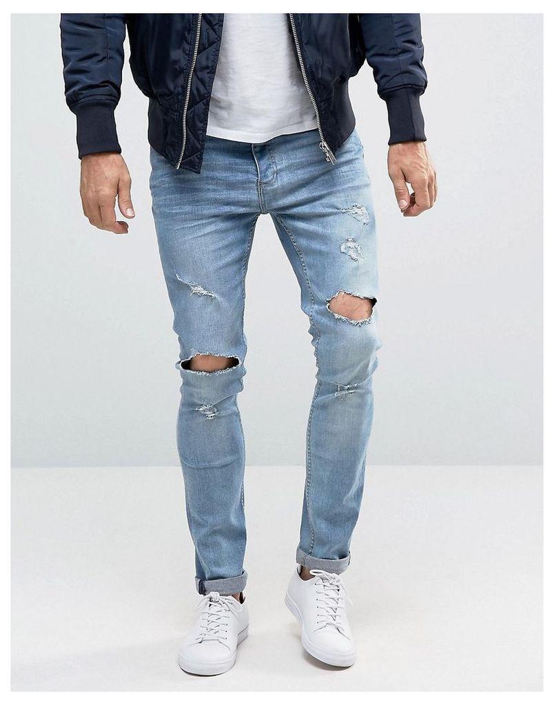 Brave Soul Distressed Skinny Jeans - Blue