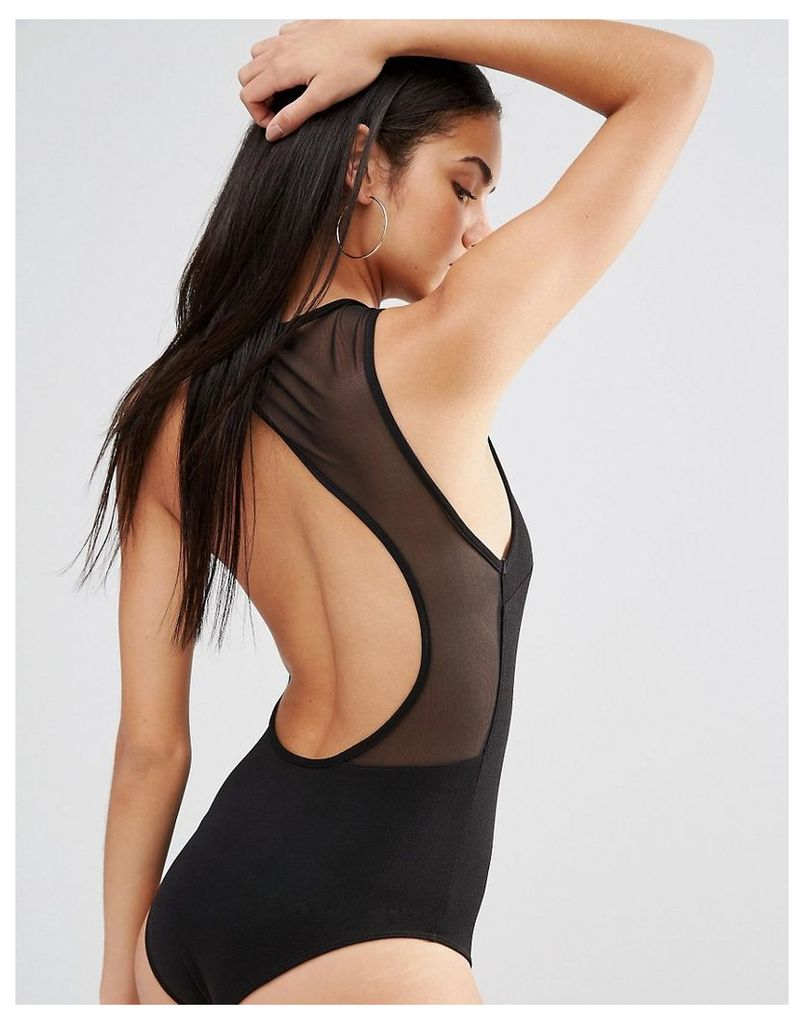 Missguided Cut Out Mesh Back Body - Black