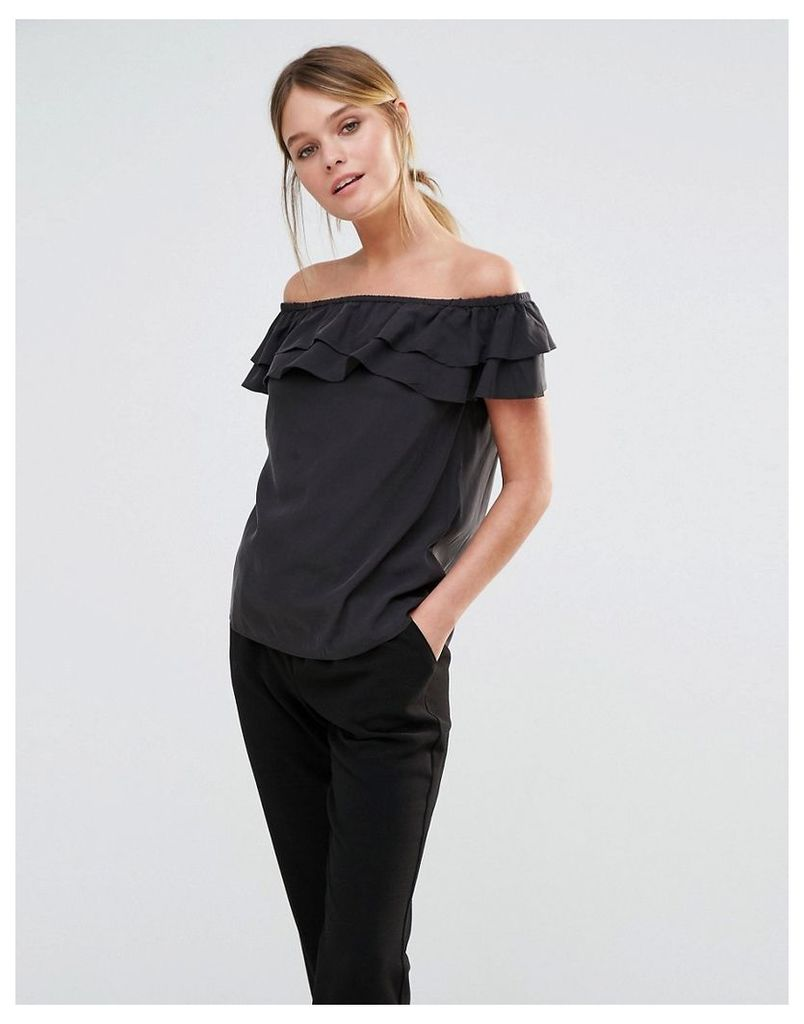 Oasis Off the Shoulder Ruffle Top - Black