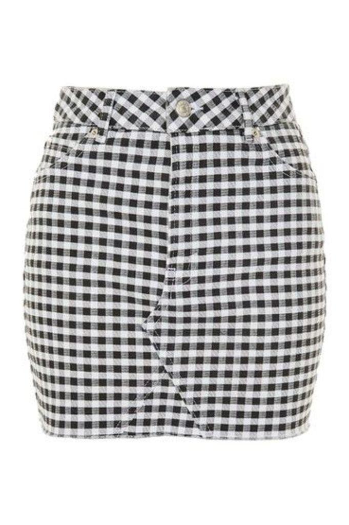 Womens MOTO Gingham Mini Skirt - Bleach Stone, Bleach Stone