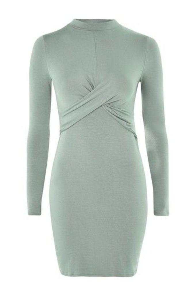 Womens Twist Front Bodycon Dress - Mint, Mint