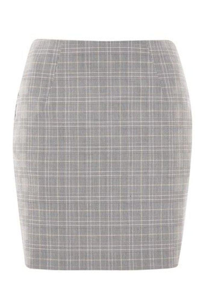Womens Check Pelmet Skirt - Grey, Grey
