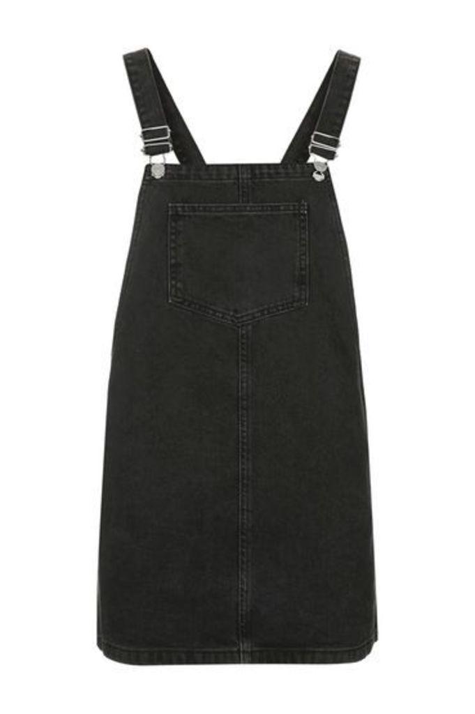 Womens PETITE MOTO Square Neck Pinafore Dress - Washed Black, Washed Black
