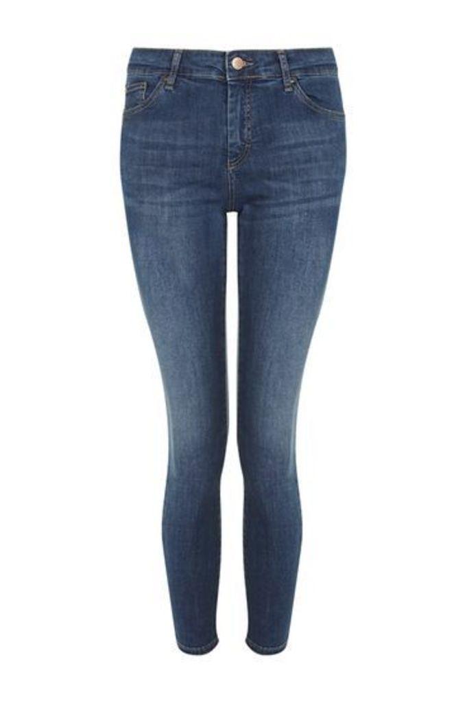 Womens PETITE MOTO Leigh Jeans - Mid Stone, Mid Stone