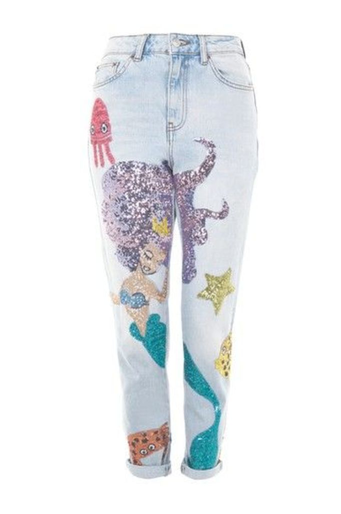 Womens MOTO Mermaid Mom Jeans - Bleach Stone, Bleach Stone