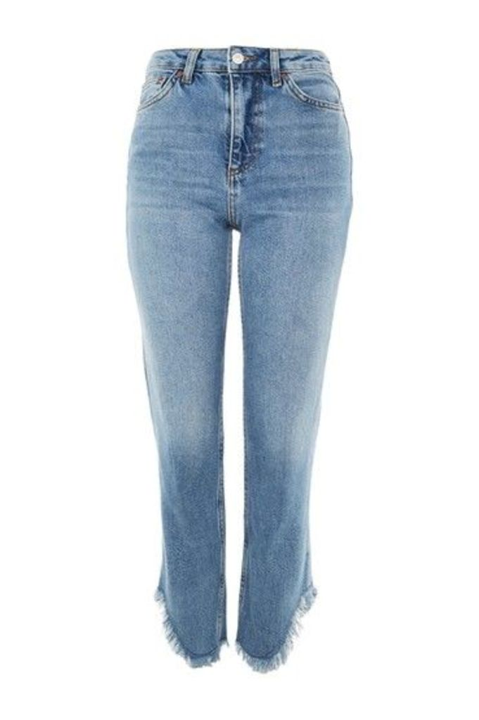 Womens MOTO Mid Blue Fringe Hem Straight Leg Jeans - Blue, Blue