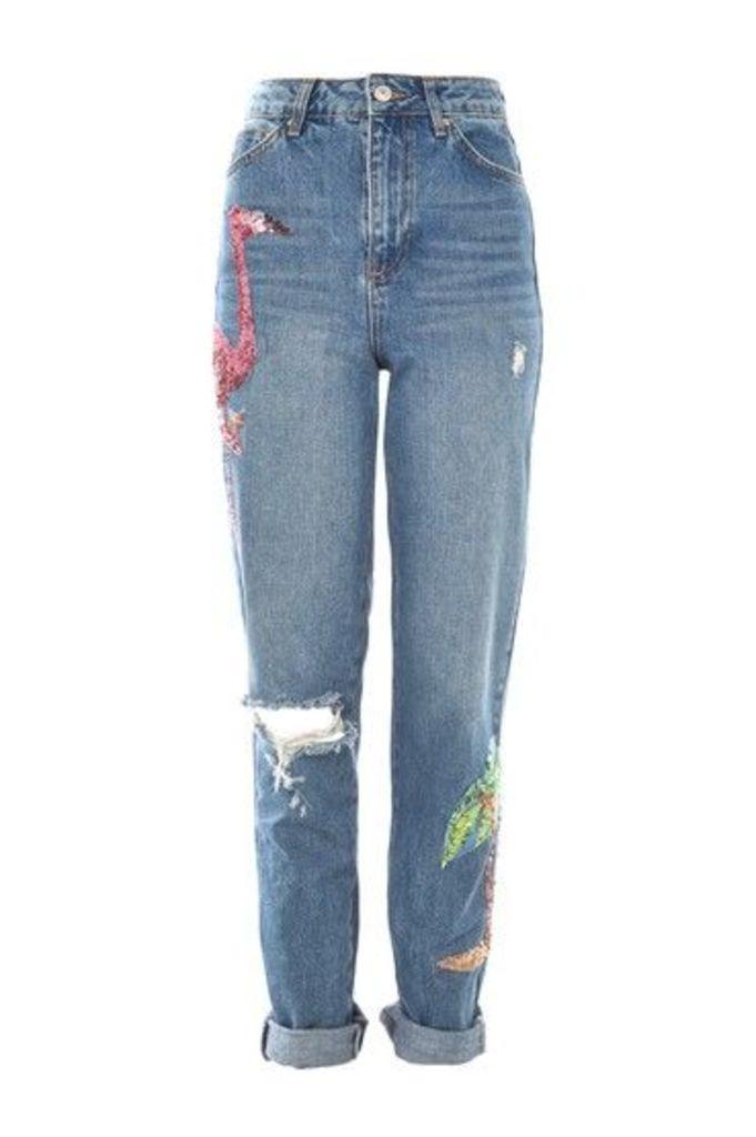Womens TALL Flamingo Sequin Mom Jeans - Blue, Blue