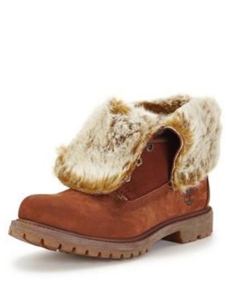 Timberland Authentics Faux Fur Fold-Down, Cognac, Size 3, Women