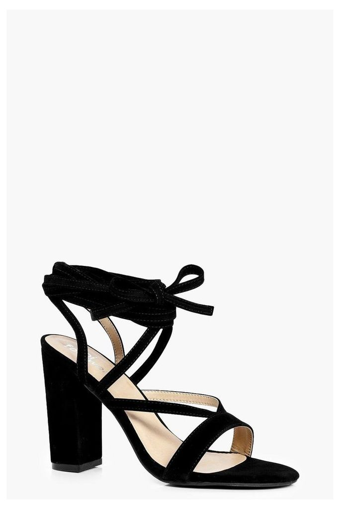 Wrap Strap Block Heels - black