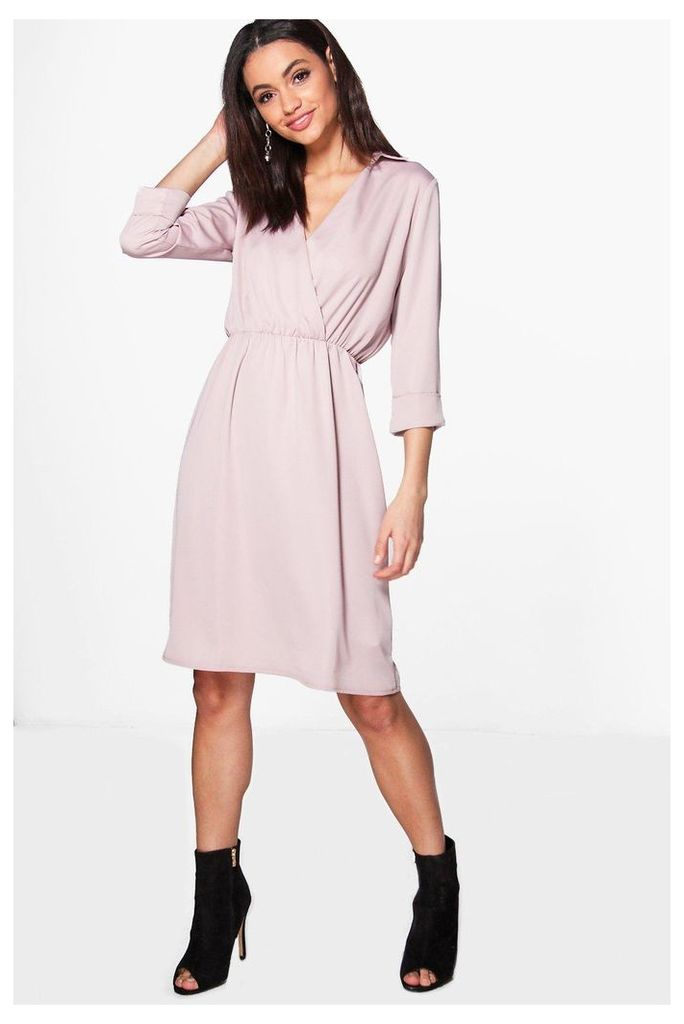 Premium Wrap Over Tailored Dress - violet
