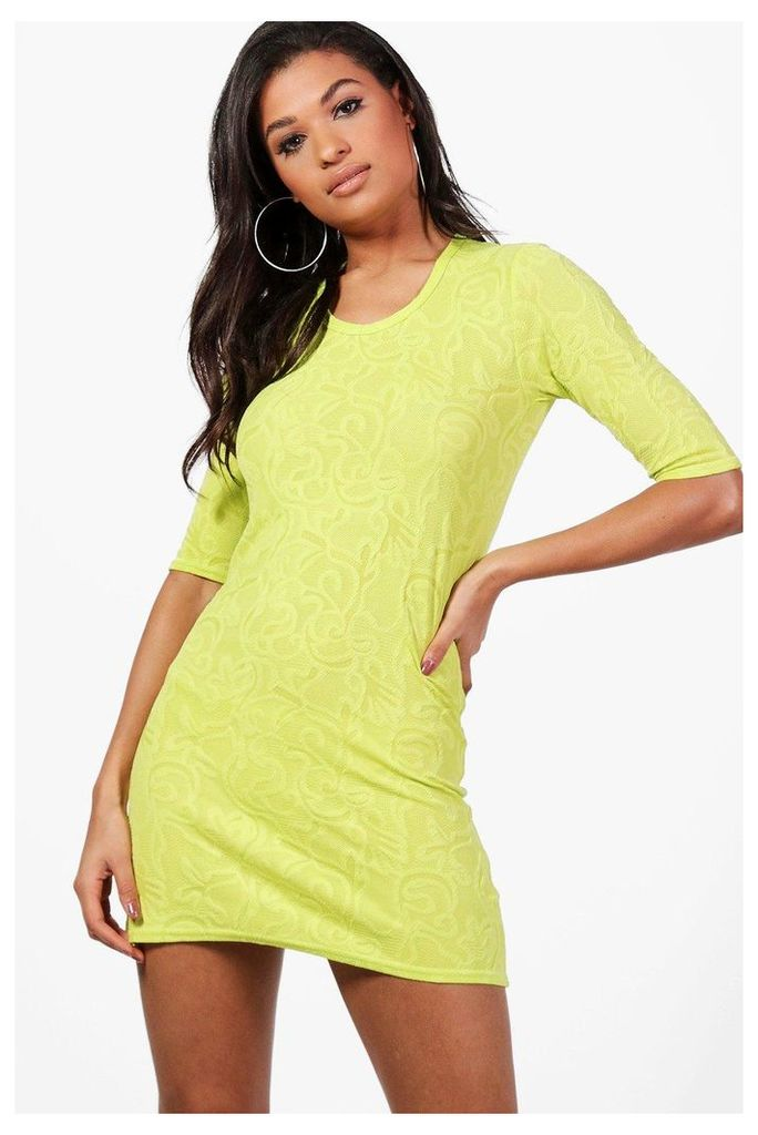 Short Sleeve Shift Dress - lime