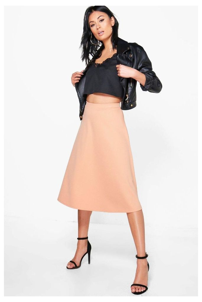 Plain Full Circle Midi Skirt - peach