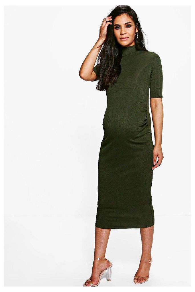 Adalyn High Neck Cap Sleeve Rib Midi Dress - khaki