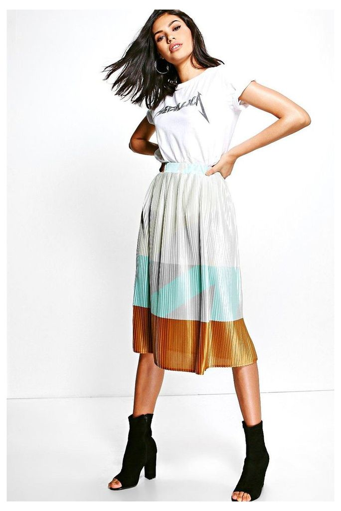 Pleated Colour Block Satin Midi Skirt - multi