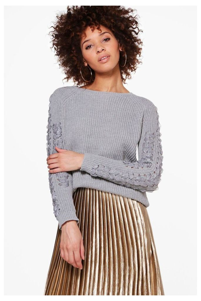 Ribbon Sleeve Jumper - grey