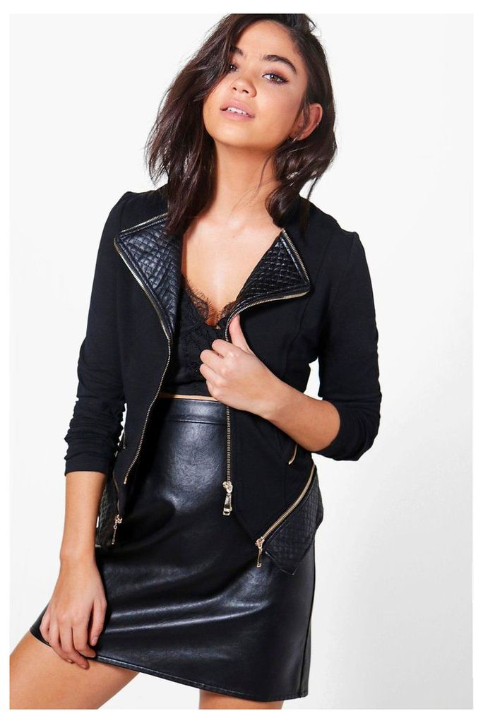 Quilted PU Trim Jacket - black