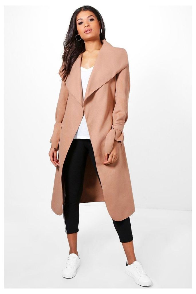Belted Wool Coat With Tie Cuff Detail - camel