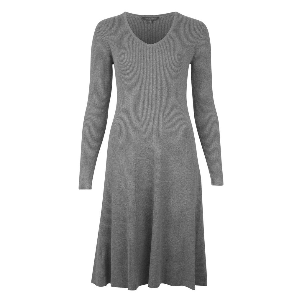 VNeck Ribbed Wool Fit and Flare Dress