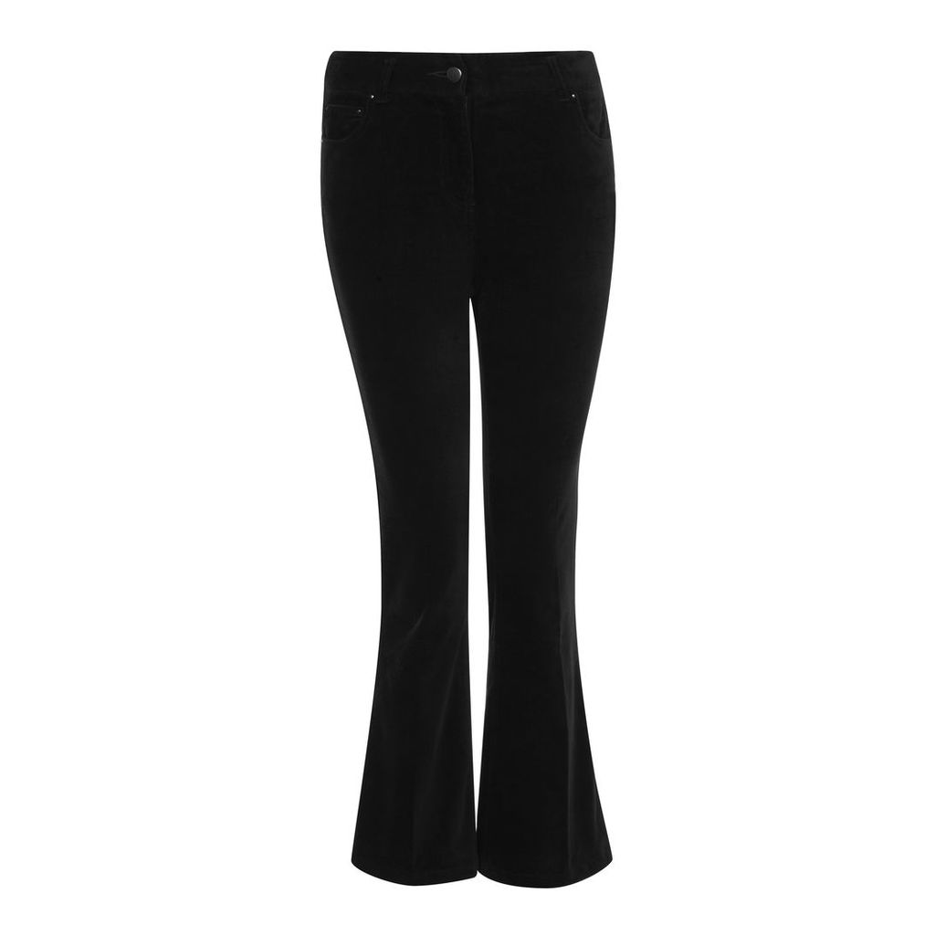 Velveteen Cropped Kick Flare Trousers
