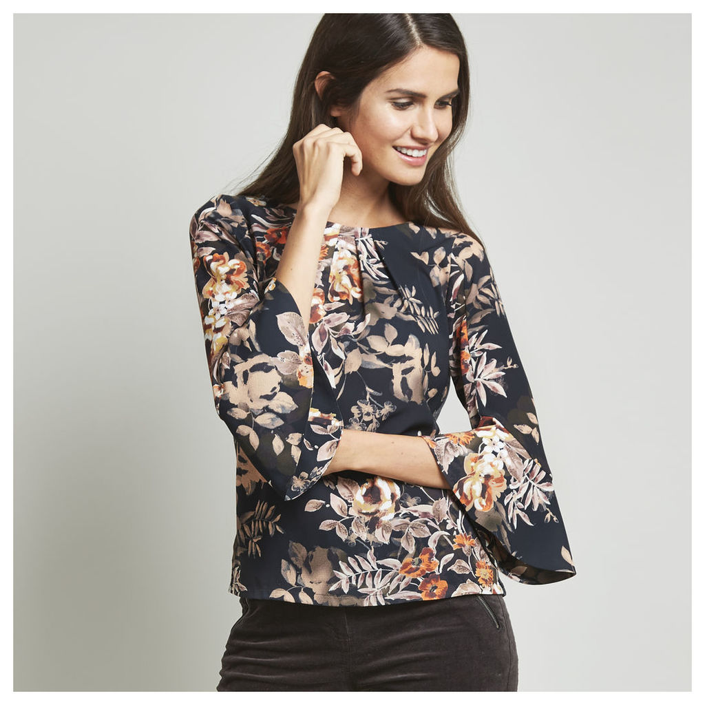 Fluted Sleeve Woven Front Floral Top