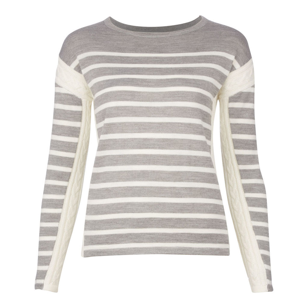 Cable Knit Detail Stripe Jumper